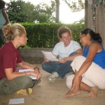 ICDS graduate student member Melissa Liebert (left) conducting an interview in Ecuador as part of the Shuar Health and Life History Project