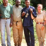 ICDS Director Dr. Frances White (far right) with Congolese collaborators in her field research project on bonobos
